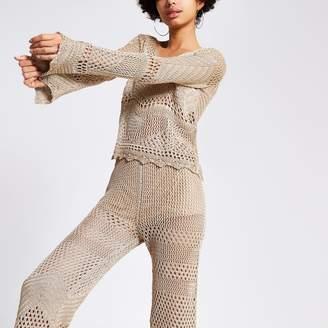 River Island Womens Gold metallic crochet top