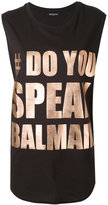 Balmain phrase print tank top - women - Cotton - 34