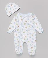 SpaSilk Blue Dinosaur Footie & Beanie - Infant