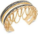 Thalia Sodi Gold-Tone Hematite Pave & Chain Cuff Bracelet, Created for Macy's