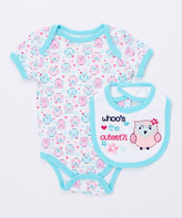 Buster Brown Blue Radiance 'Whoo's the Cutest?' Two-Piece Bodysuit & Bib