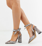 Asos Design DESIGN Wide Fit Wholesome pointed block heels with chain anklet in snake