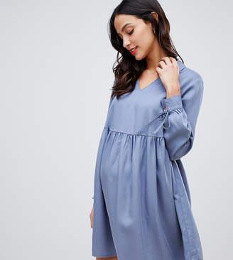 Asos DESIGN Maternity casual collared smock mini dress-Gray