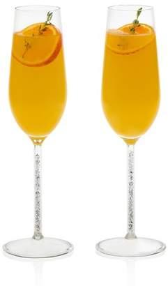 Libbey Glint 2pc Silver Stem Glass Flute 9oz