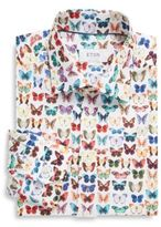 Eton Regular-Fit Butterfly Printed Cotton Shirt