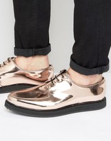 Asos Lace Up Brothel Shoes In Copper