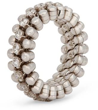 Serafino Consoli White Gold and Diamond Brevetto Narrow Ring