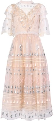 True Decadence Nude Embellished Geometric Print Midi Dress
