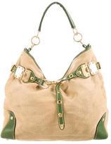 Miu Miu Woven Leather-Trimmed Hobo
