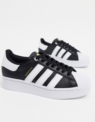 adidas Superstar Bold platform trainers in black and white