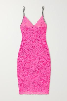 Versace Neon Stretch-lace Chemise - Fuchsia