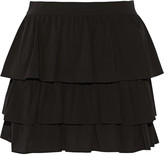 Alice + Olivia Reina tiered stretch-silk mini skirt
