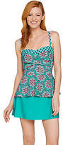As Is Isaac Mizrahi Live! Medallion Print Peplum Tankini Swimsuit