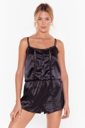 Nasty Gal Womens Don't Wake Me Up Satin Pajama Shorts Set - Black