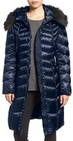 Tahari Women's Emma Quilted Down & Feather Coat With Faux Fur Trim