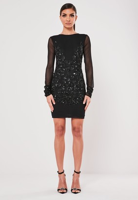Missguided Black Embellished Bodycon Mini Dress
