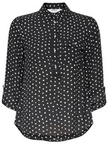 Dorothy Perkins Womens Petite Black And Green Spot Print Roll Sleeve Shirt, Black