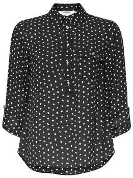 Dorothy Perkins Womens Dp Petite Black And Green Spot Print Roll Sleeve Shirt, Black