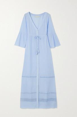 Heidi Klein Tie-detailed Cotton-crepon Kaftan - Blue
