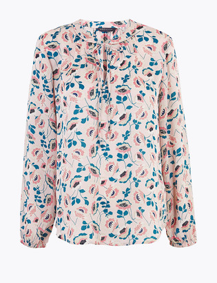 Marks and Spencer Floral Tie Neck Long Sleeve Blouse