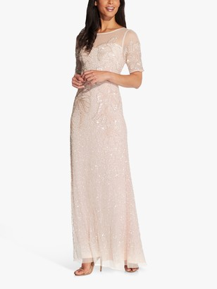 Adrianna Papell Beaded Covered Elbow Floral Maxi Gown, Flaxen