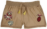 Scotch R'Belle EMBROIDERED COTTON-MODAL VOILE SHORTS-TAN, NO COLOR SIZE 6