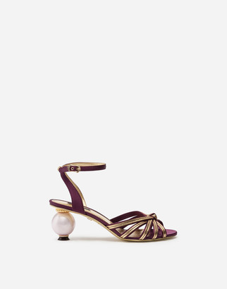 Dolce & Gabbana Satin And Mordore Sandals With Pearl Heel