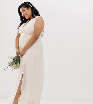 TFNC Plus Plus Lace Detail Maxi Bridesmaid Dress-Pink
