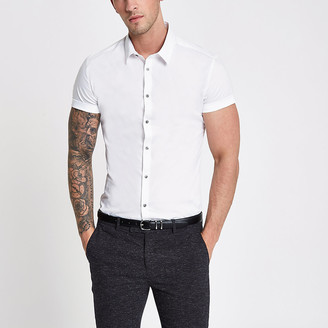 River Island White muscle fit short sleeve shirt