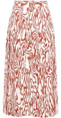 Victoria Beckham Printed Twill Midi Skirt