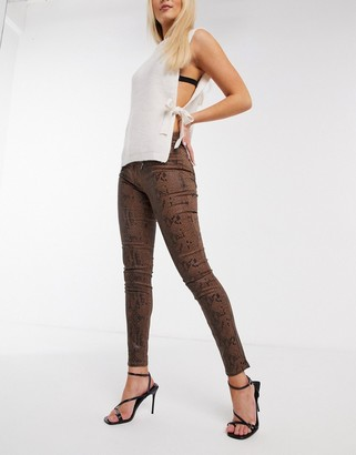 Morgan zip detail jean in chocolate brown snakeskin print
