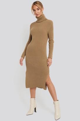 NA-KD Recycled Turtle Neck Split Hem Sweater Dress