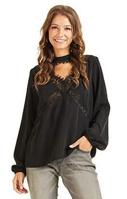 SONJA BETRO Women's Crepe Lace Trim Peek-a-Boo Choker Neck Long Balloon Sleeve Empire Tunic Top Bohemian Fashion Black