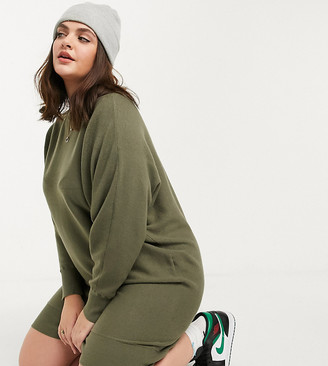 Noisy May Curve knitted dress with slashed neck in khaki