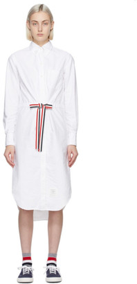 Thom Browne White Below-The-Knee Shirt Dress