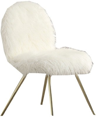 Overstock Fabric Upholstered Contemporary Metal Accent Chair, White and Gold