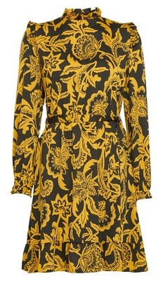 Dorothy Perkins Womens Yellow Floral Print Ruffle Fit And Flare Dress