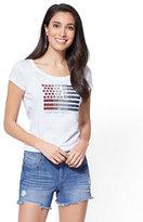 New York & Co. Sequin Ombré Flag Graphic Logo Tee