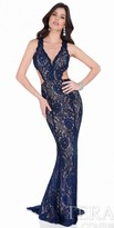 Terani Couture Rhinestone Encrusted Lace Evening Gown