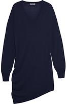 Balenciaga Asymmetric Wool, Silk And Cashmere-blend Dress - Navy