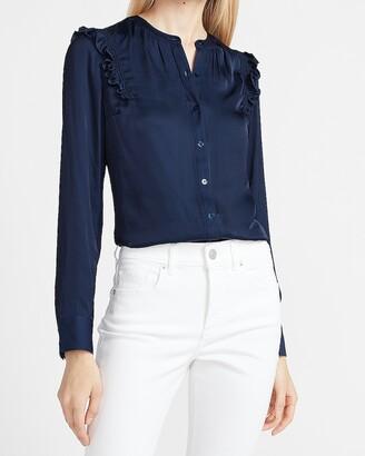 Express Ruffle Shoulder Button-Up Portofino Shirt
