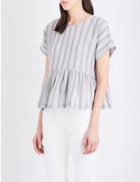Masscob Striped cotton-blend top