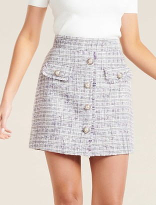 Forever New Lucinda Button-Down Boucle Mini Skirt - Lilac - 16