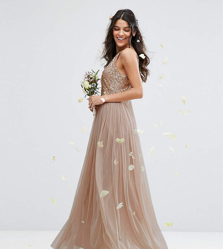 Maya High Neck Maxi Tulle Dress With Tonal Delicate Sequins