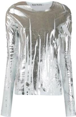 Acne Studios Metallic-Print Long Sleeve Top