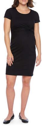 BELLE + SKY Belle & Sky Maternity Short Sleeve Twist Front Dress