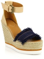 See by Chloe Glyn Leather & Canvas Platform Espadrille Wedge Sandals