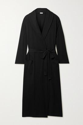 Skin + Net Sustain Carina Organic Pima Cotton-jersey Robe - Black