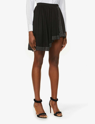 Azzedine Alaia Edition 1981 Assymetric eyelet-embellished stretch-jersey mini wrap skirt