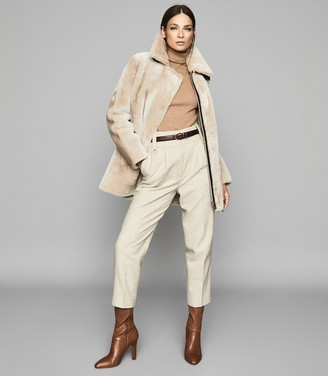 Reiss Izzie - Mid Length Shearling Coat in Neutral